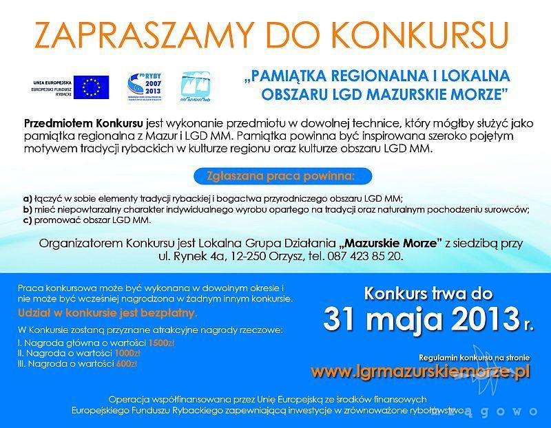 Pamiątka Regionalna i Lokalna Obszaru LGD Mazurskie Morze